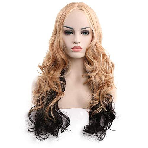 Ybl parrucca parrucca per capelli lunghi ricci da donna 2 colori naturali sintetici resistente al calore parrucca di seta di seta cap resistente al calore casuale costume di carnevale 57 centimetri