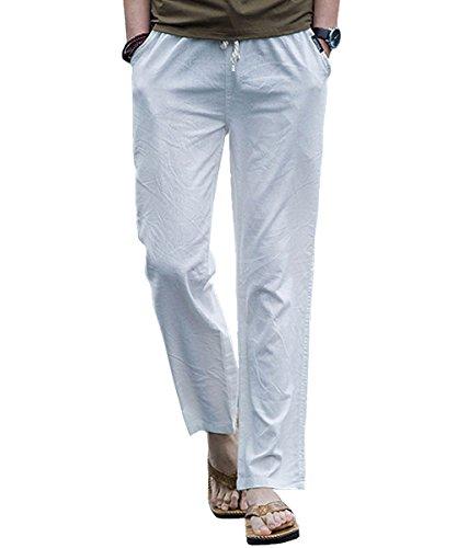 donhobo Herren Hosen Leinen mit Seitentaschen Lässige Hose Loose Freizeithose(Weiß,M) (Hose Petite Weiße)