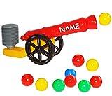 Unbekannt Ballkanone / Kanone - incl. Name - mit 10 Bälle - 48 cm - wasserfest - für INNEN & AUßEN - z.B. für Bällepool / Bällebad / Ball - Bad - Spielzeugbälle - Kinde..