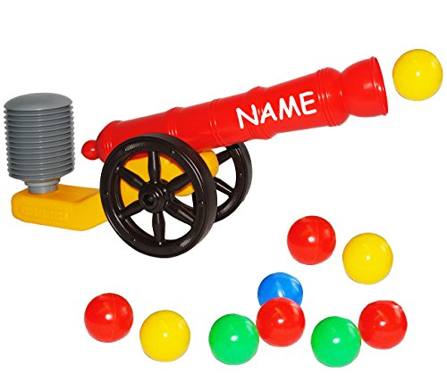 Preisvergleich Produktbild Ballkanone / Kanone - incl. Name - mit 10 Bälle - 48 cm - wasserfest - für INNEN & AUßEN - z.B. für Bällepool / Bällebad / Ball - Bad - Spielzeugbälle - Kinderbälle / Babybälle - Bällebadbälle - Babypool - Bällebadpool - Plastikbälle - Kugel - Ballspiele - Ballkanonen - für Kinder & Erwachsene - Partyspiel - Bällebadkanone