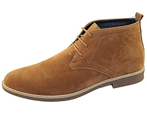 Mens Suede Desert Boots Winter Casual Camel Lace Up Casual Ankle High Top Classic Shoes Size EU 44