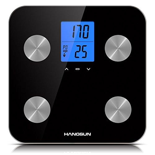 Hangsun Bilancia Pesapersone Professionale Digitale Diagnostica HS200 Bilancia Elettronica Bilancia da Bagno con Tecnologia di Riconoscimento Automatico di10 Profili Personali nero