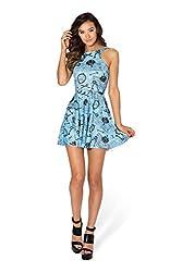 Fashion Women's Summer Pleated Knee-length Digital Print Pattern Reversible Skater Dress Clubwear Ball Party