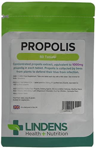 Lindens Propolis 1000 mg Tabletten | 60 Verpackung | Beliebte Nahrungsergänzung, die traditionell seit tausenden von Jahren angewendet wird, ganz praktisch als Extrakt in einer Tablette für die einmalige Einnahme am Tag -