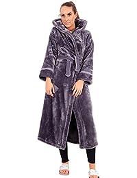 9e37e7abbdea Ex Marks & Spencer Ladies Luxury Fleece Hooded Dressing Gown Purple