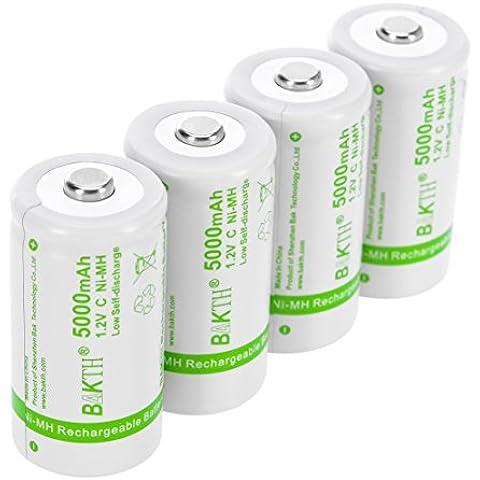 BAKTH aumentada 5000mAh C Tamaño de alto rendimiento NiMH Pre-Charged baja auto-descarga las baterías recargables para los aparatos domésticos (4