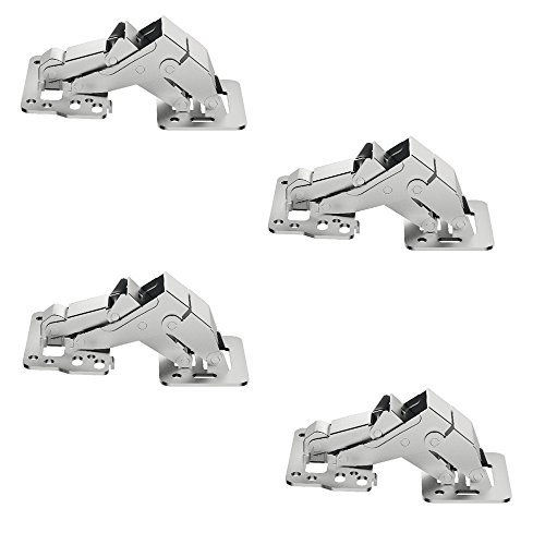 Preisvergleich Produktbild 4 Stück - GedoTec® Hochklappscharnier CH 150 Klappen-Scharnier Türscharnier Möbelscharnier für Anschlag mit Blende / Stahl vernickelt / Klappengewicht 1, 4 kg / Markenqualität für Ihren Wohnbereich