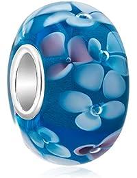 Uniqueen Perle en verre à motif floral avec cœur en argent sterling pour bracelet Pandora
