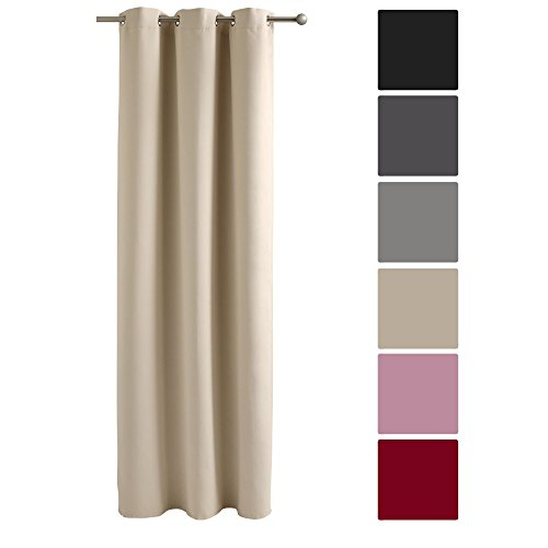Decolicious - tenda oscurante con occhielli beige chiaro 140x180 cm