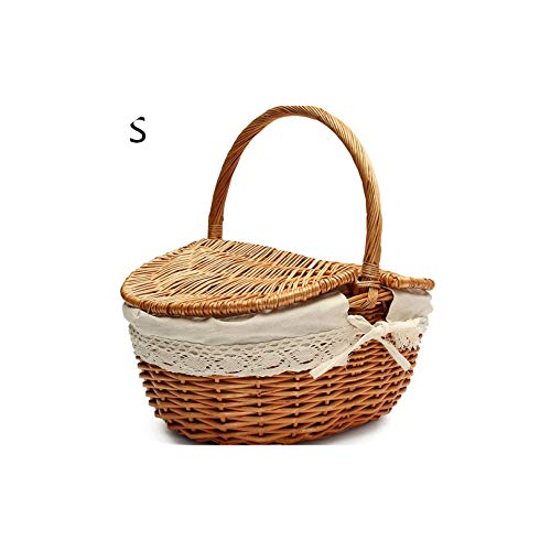 Gezellig Vesper Baskets Hand Made Wicker Picknickkorb mit Deckel Speisen Brot Camping Picknick-Korb Hamper Woven Bambus Frucht Speicher-Korb, S Burlywood -
