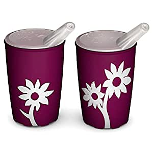 Ornamin Non-slip cup with flower 220 ml blackberry / white and spouted lid | colourful drinking cup with non-slip flower decor for firm hold | drinking aid, cup for the care, children's cup