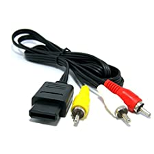 WINGONEER reemplazo Assecure AV compuesto de plomo TV por cable para Super Nintendo, GameCube, 64 (Super Famicom, Snes, GC, NGC, N64)