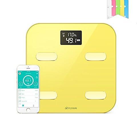 YUNMAI Color Pèse-personne Numérique avec Bluetooth - Balance de Salle de Bain Connectée LCD de Précision - Mesure10 Données Dorporelles,Jaune