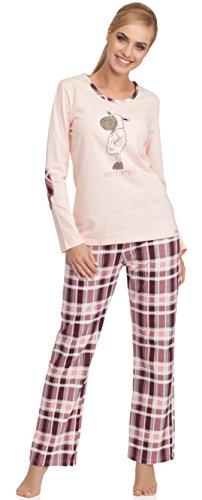 Cornette Damen Schlafanzug Warm (Hellrosa/Dunkelrot, 38 (Herstellergröße: M)) -