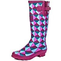 Onlineshoe FBA - Funky Flat Wellie Wellington Festival Rain Boots - Assorted Colours