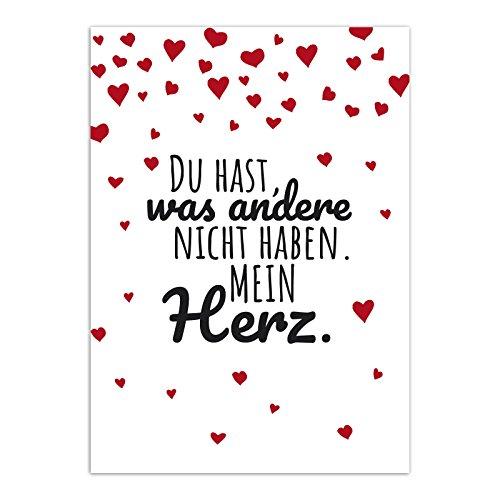 Postkarte Lieber Spruch mit Herzen / Moderne Karte mit Umschlag / Valentinstag / Liebe / Partner / Hochzeit / Jahrestag / Paare