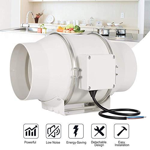 Hon&Guan 150mm Rohrventilator Mischdurchfluss Rohrlüfter mit Starker Abluft System 312CFM für Büro , Bad , Halle , Hydroponic Zimmer (150mm) -