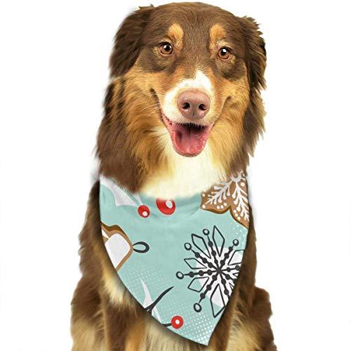 Osmykqe Hundebandanas-Weihnachtsmuster-Dreieck-Schals waschbares Dreieck-Lätzchen-Haustier-Schal Ems Gps