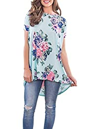 e36a073b4 Señoras del Verano Camisas Largas De La Camiseta Camisas De Sencillos La  Impresión Floral De Manga Corta del Cuello Redondo…