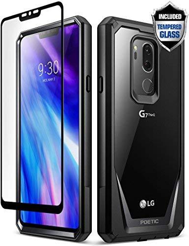 POETIC LG G7 ThinQ Schutzhülle, Guardian, Robuste, Klare Hybrid Schutzhülle Mit Gehärtetem Glas Displayschutzfolie (Kratzfeste Hinterseite) (360 Grad Schutz) für 2018 LG G7 ThinQ Schwarz -