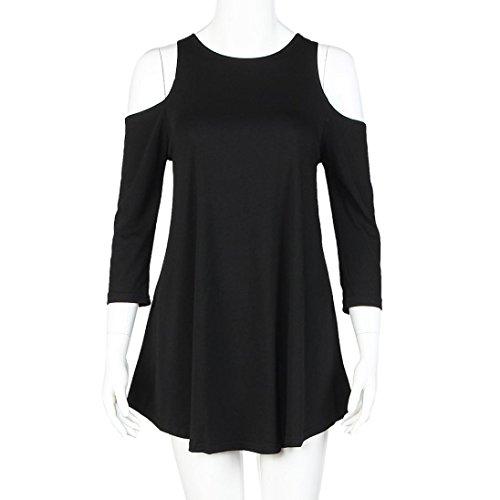 Robe Femme, Fulltime® Femmes Mode Off Robe solide Mini Sexy Noir