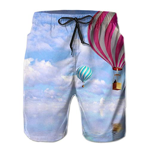WITHY Hot Air Balloon Mens Swim Trunks Quick Dry Board Shorts with Pockets Summer Beach Short with Mesh Liner£¬(M) Air-mesh-liner