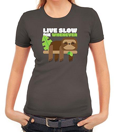 Faultier Damen T-Shirt mit Live Slow Die Whenever Motiv von ShirtStreet Dunkelgrau