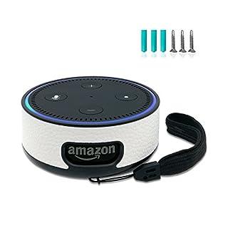 FuShi Alexa Echo Dot 2 Hülle case   Deckenhalterung Ständer Wandhalterung mit Schrauben, Protable Schutzhülle Halterung mit Handschlaufe nur für Echo Dot 2. Generation (Weiß)