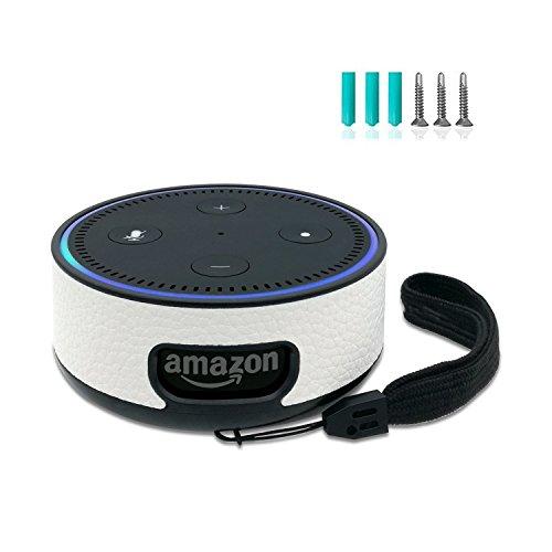 FuShi Alexa Echo Dot 2 Hülle Case | Deckenhalterung Ständer Wandhalterung mit Schrauben, Protable Schutzhülle Halterung mit Handschlaufe Nur für Echo Dot 2. Generation (Weiß)