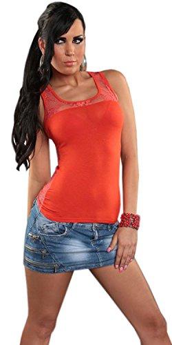 Koucla bretelles uni-top pour femme avec broderie en maille décorée & taille 32–36 Orange - Orange