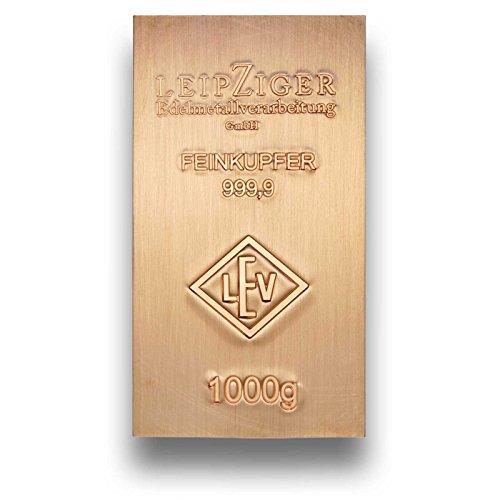 Kupferbarren 1000g (1kg) Industry - 999.9 Feinkupfer - Made in Germany