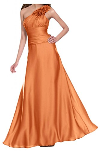 Gorgeous Bride Elegant Ein-Traeger Lang Empire Satin Blumen Abendkleid Festkleid Ballkleid Orange