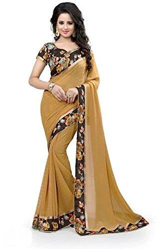 Plain Georgette saree With Blouse ( Cream Color)