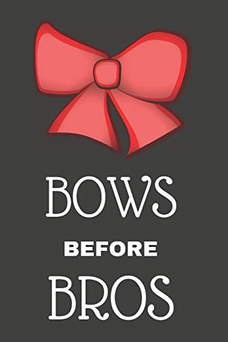 Bows Before Bros: Funny Cheerleading Notebook/Journal for Girls to Write in, 120 Lined Pages (6x9 Inch.) Red Bow Design di Glassy Graphics