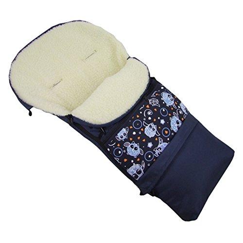 Rawstyle 3 in 1 Winterfußsack (Eulen §15) 110cm & 85cm *Eulen* aus LAMMWOLLE für Kinderwagenschale, Kinderwagen, Schlitten und Buggys Fußsack Wolle