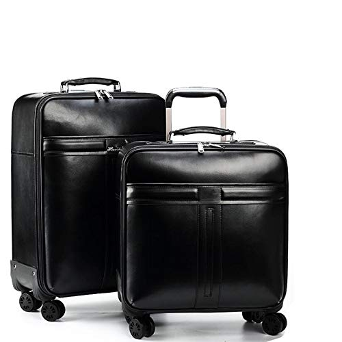 RHUFO Gepäck Zwei Stücke 16 Zoll 22 Zoll Leder Gepäck Koffer Set Portable Carry On Trolley Koffer mit Spinner Wheels Business Reisetasche Gepäck Koffer...