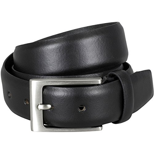 Lindenmann Mens Leather Belt/Mens Belt, leather belt curved, black