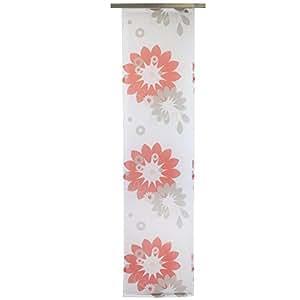 Gözze, panneau japonais Be Happy/voilage coulissant, 245x60 cm, voile transparent à motif fleuri, rouge, prêt à poser, kit de fixation fourni, très belle qualité