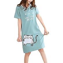 Pijamas Mujer Tallas Grandes Verano Elegante Manga Corta Cuello Redondo Lindo Patrón Print Vestido Pijama Confort