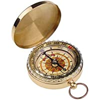 BestDealUK Outdoor Camping Hiking Portable Brass Round Golden Compass Navigation Tool