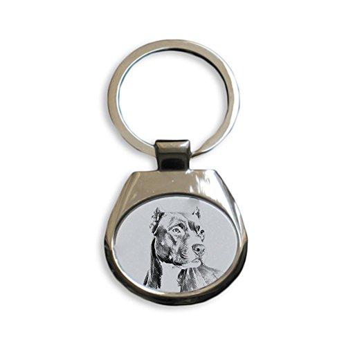 ArtDog Ltd. Pitbull, Schlüsselringe mit reinrassigen Hunden, einzigartiges Geschenk, Sublimation (Pitbull Schmuck)