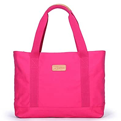 Eshow borsa tote di tela shopping weekend rosa