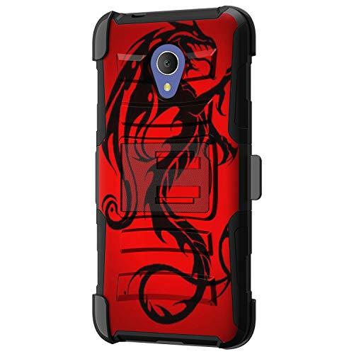 TurtleArmor - kompatibel mit Alcatel 1X Evolve Hülle, IdealXtra Case, TCL LX Case [Hyperschock] Hybrid-Doppelschicht-Armourholster Gürtelclip Schutzhülle mit Ständer -, Red Dragon (Android Cell Cricket Phones)