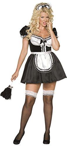 Smiffys, Damen Dienstmädchen Kostüm, Kleid, Schürze und Haarband, Größe: X1, (Dress Ideen Fancy Black)