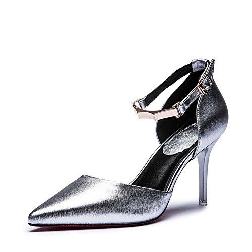 Talons aiguilles en cuir l'été de Lady/Point Velcro chaussures sandales A