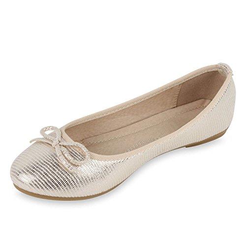 Klassische Glitzer Damen Ballerinas Bequeme Flats Schleifen Gold