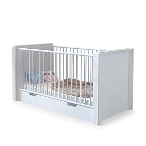 Lit bébé évolutif Nandini avec tiroir de lit, Corps en Blanc mat, Bandeaux en Blanc haute