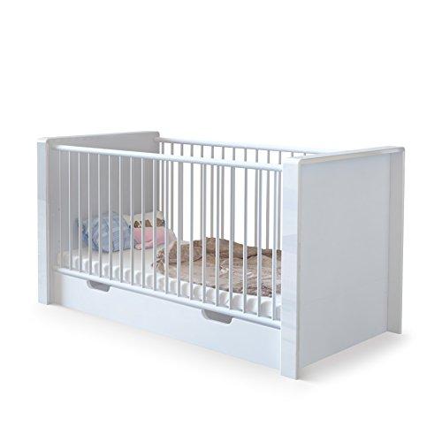 Babybett Gitterbett Kinderbett Juniorbett umbaubar Nandini mit Bettkasten, Korpus in Weiß matt, Blenden in Weiß Hochglanz