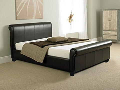 Designer Brown 4FT leather sleigh bed frame