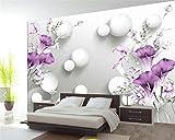 Carta Da Parati 3D,Per Decorazioni Murali Palla Di Fiori Viola Dipinta A Mano Bellissimi Sfondi 3D Di Moda Per Soggiorno,400 * 280Cm
